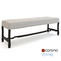 realistic seville bench cream 3D