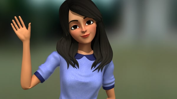 cute girl character 3D model