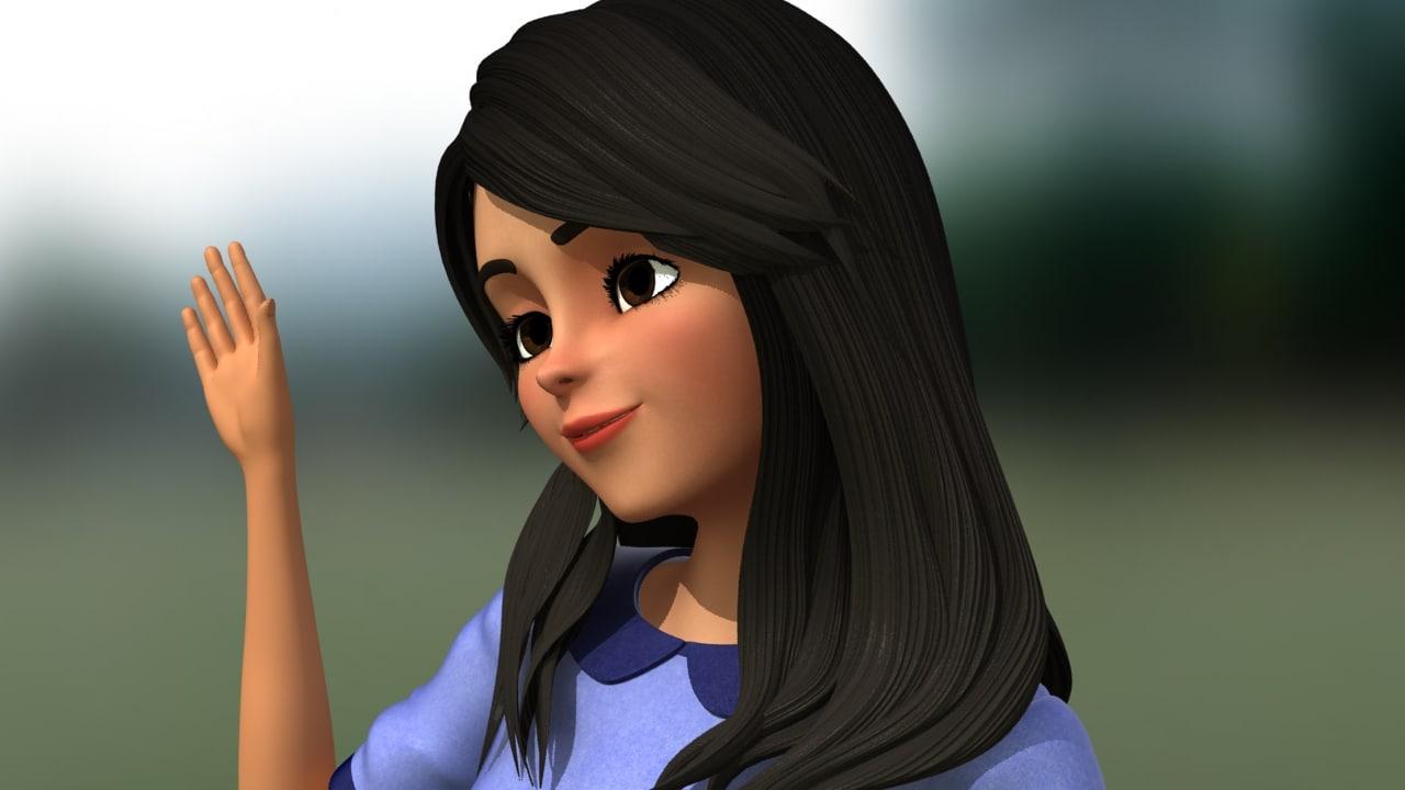 cute girl character 3d model - turbosquid 1203725