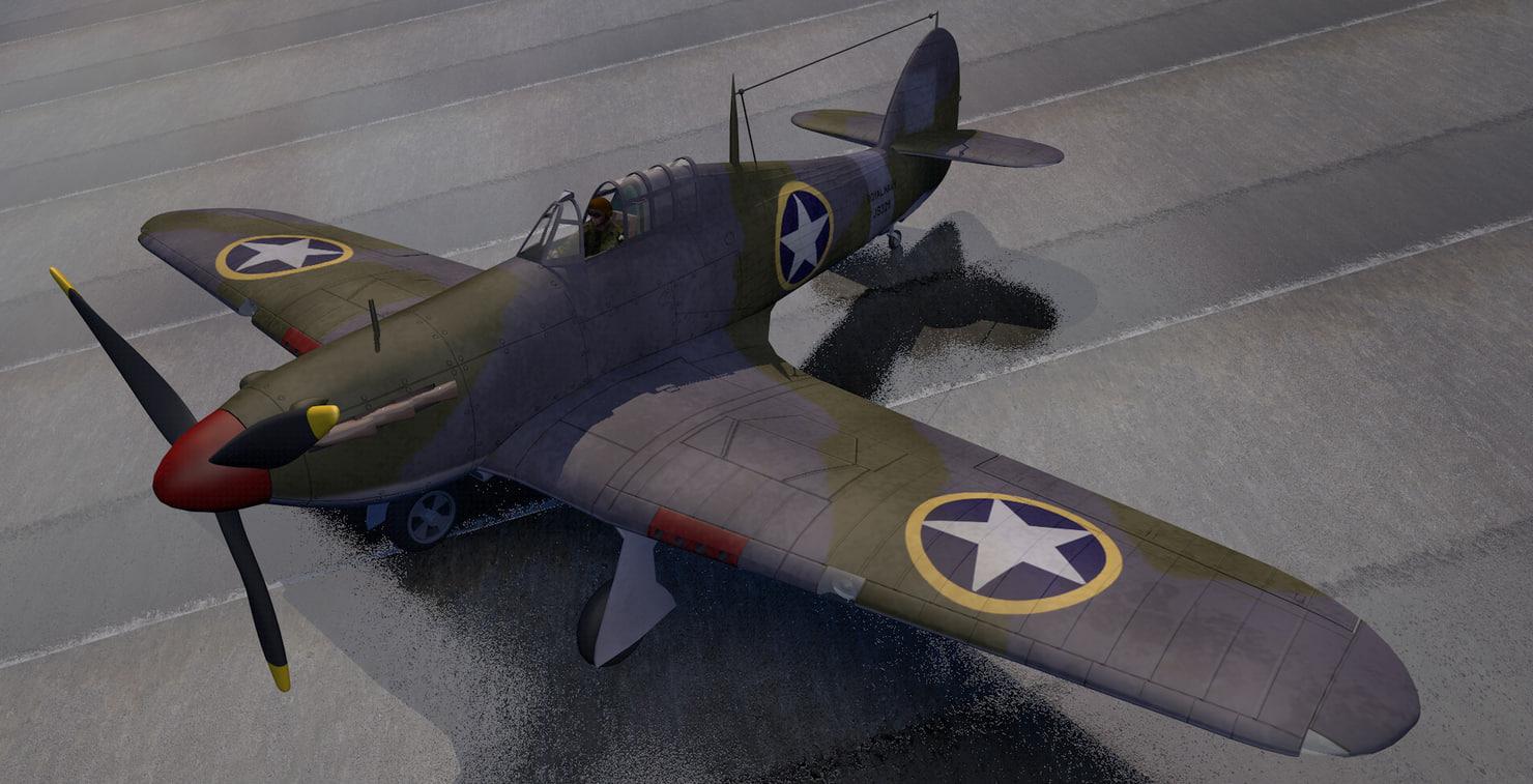 plane hawker sea hurricane 3D model