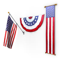 3D american flags pack