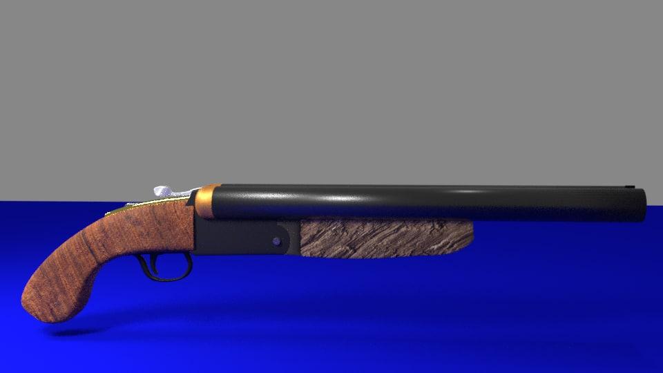 3D double barrel shotgun