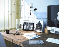 3d interior scene office work space