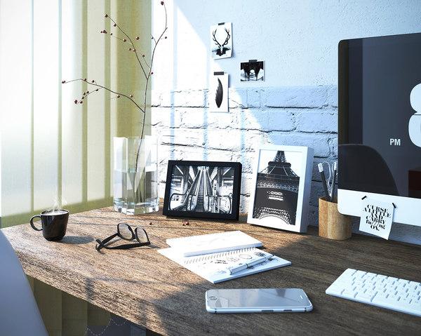interior scene office work model