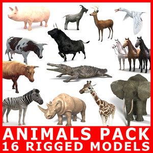 18 animals pack rigging 3D model