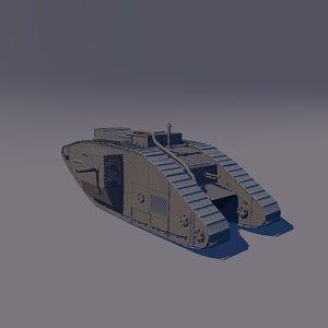 3D ww1 tank mark 1 model