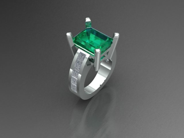 3D model ring emerald cut