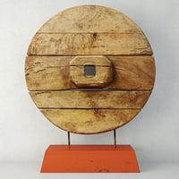 3D chinese wooden cart wheel
