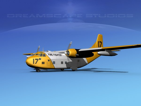 aircraft military fairchild transport 3D model