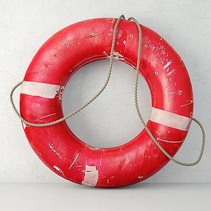 coastal red life preserver 3D