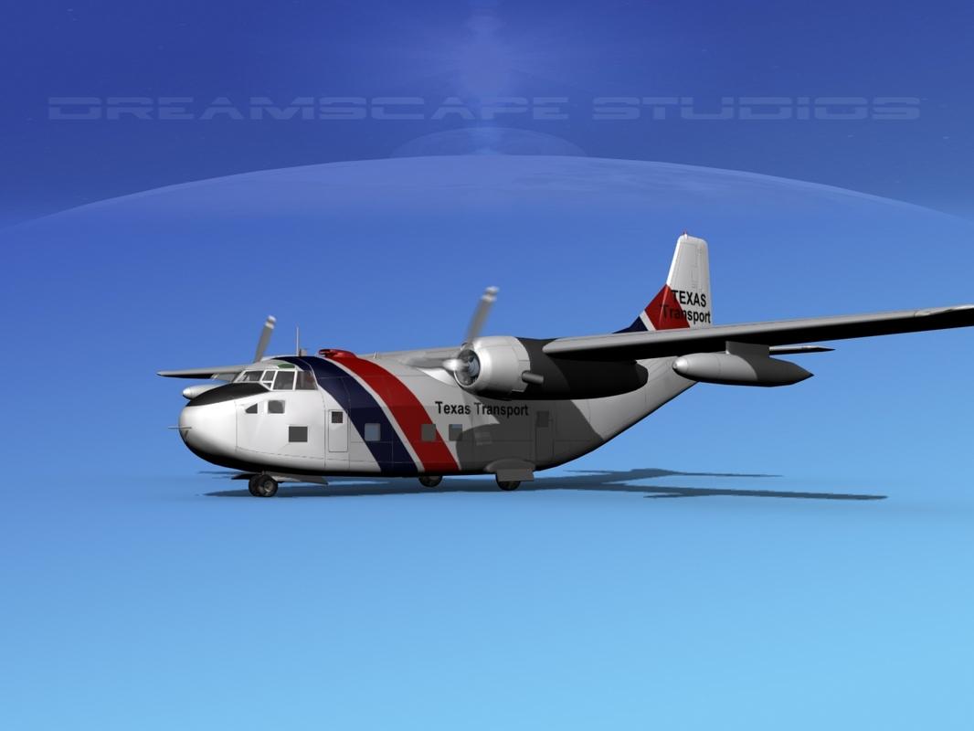 aircraft military fairchild transport 3D model