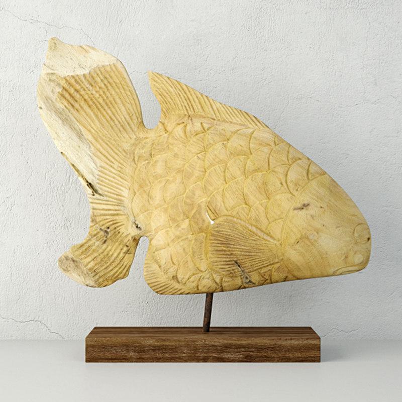 deco teak fish sculpture 3D model