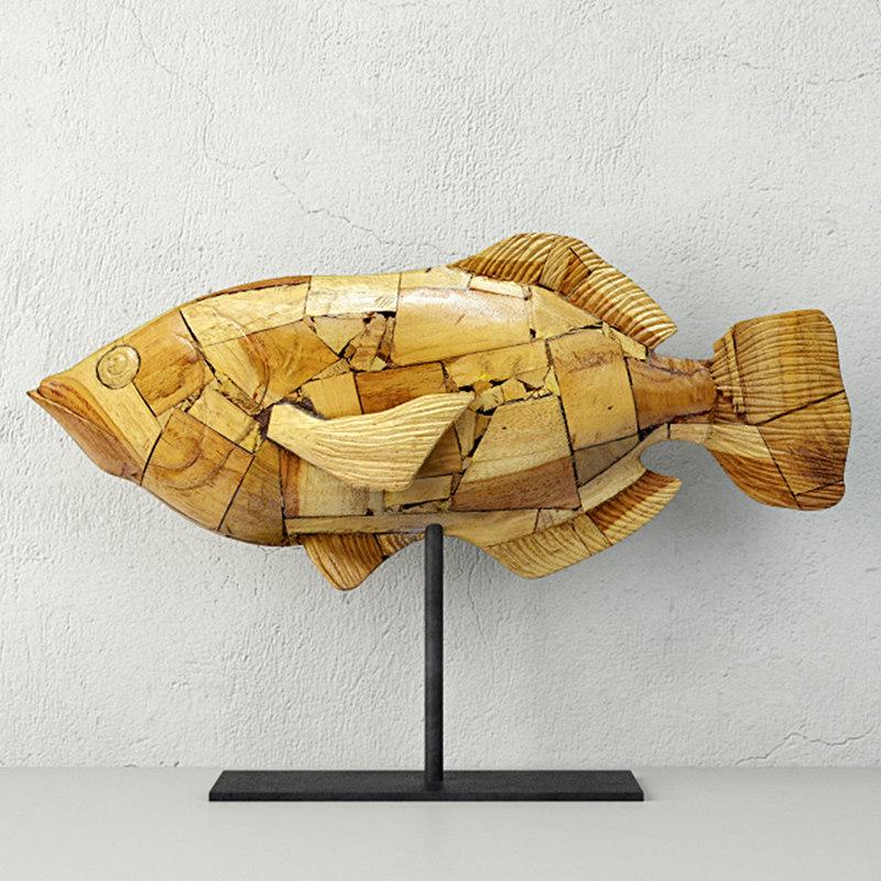 3D model driftwood mosaic fish palecek - TurboSquid 1203897