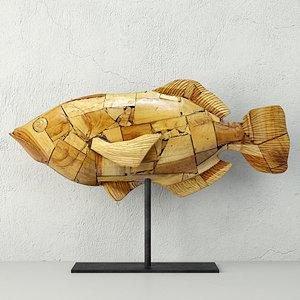 3D model driftwood mosaic fish palecek