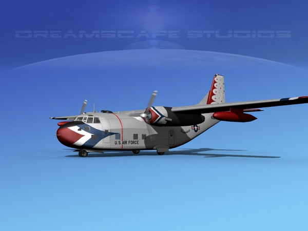 3D aircraft military fairchild transport model