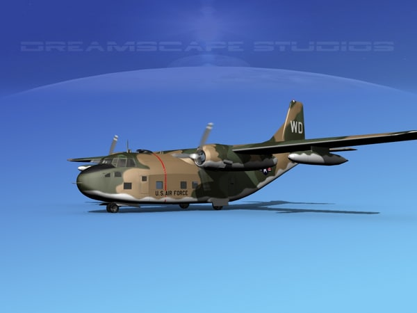 3D model aircraft military fairchild transport