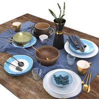 3D table set blue brown