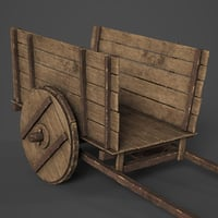 old wooden wagon cart 3D