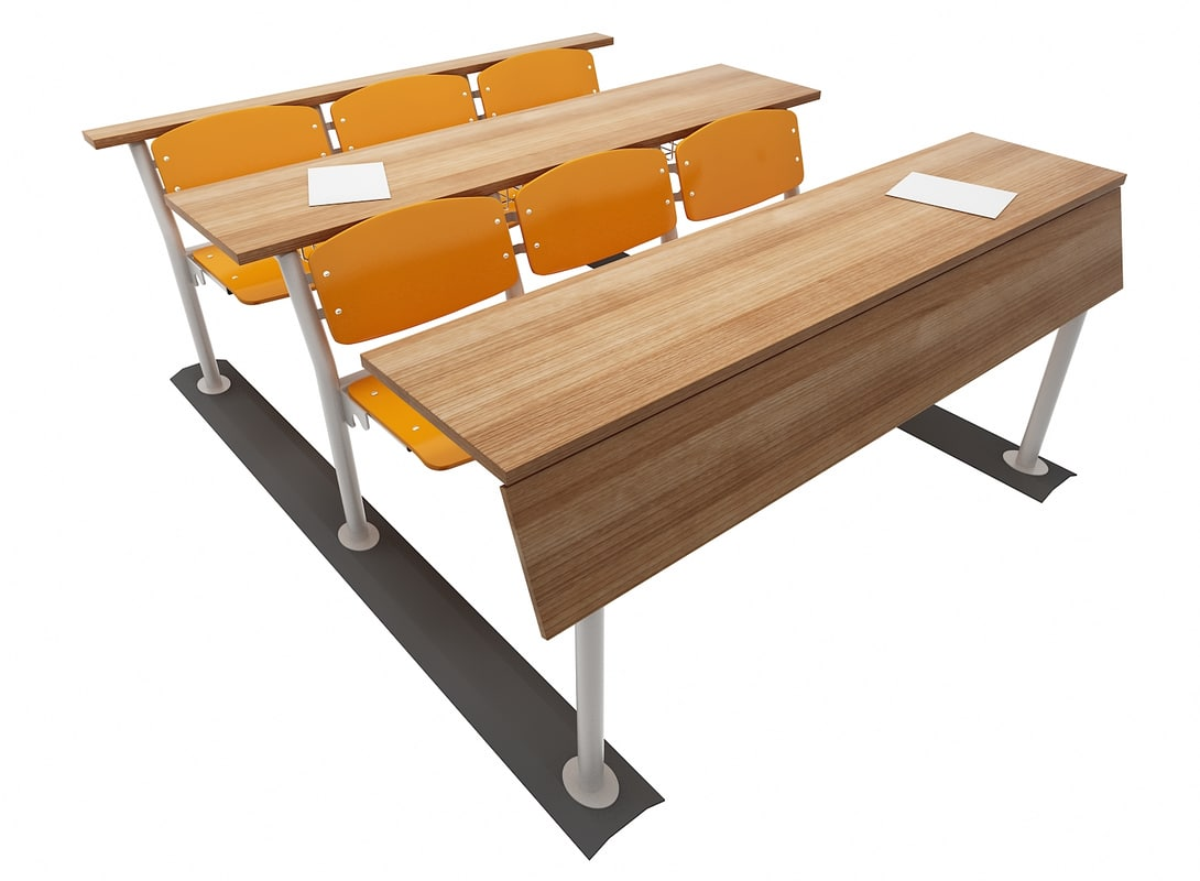 universities student desk 3D model