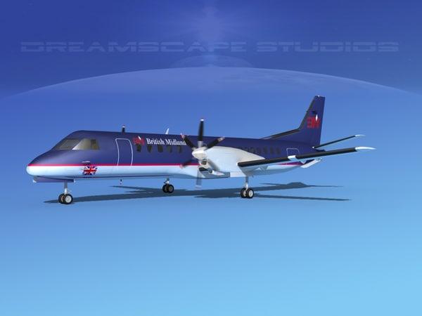 3D cockpit saab 2000 model