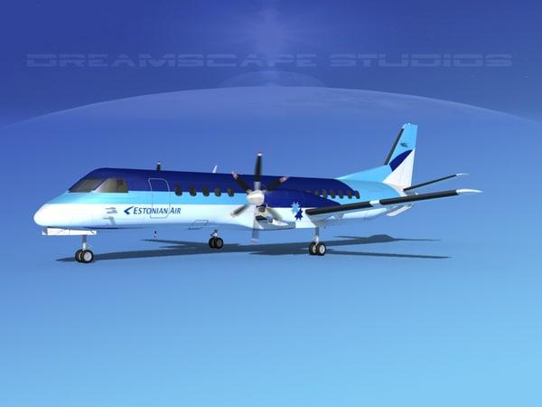 cockpit airlines saab 2000 3D model