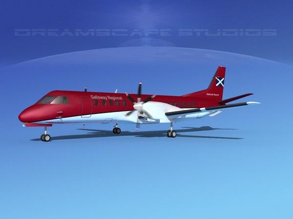 cockpit saab 2000 3D model