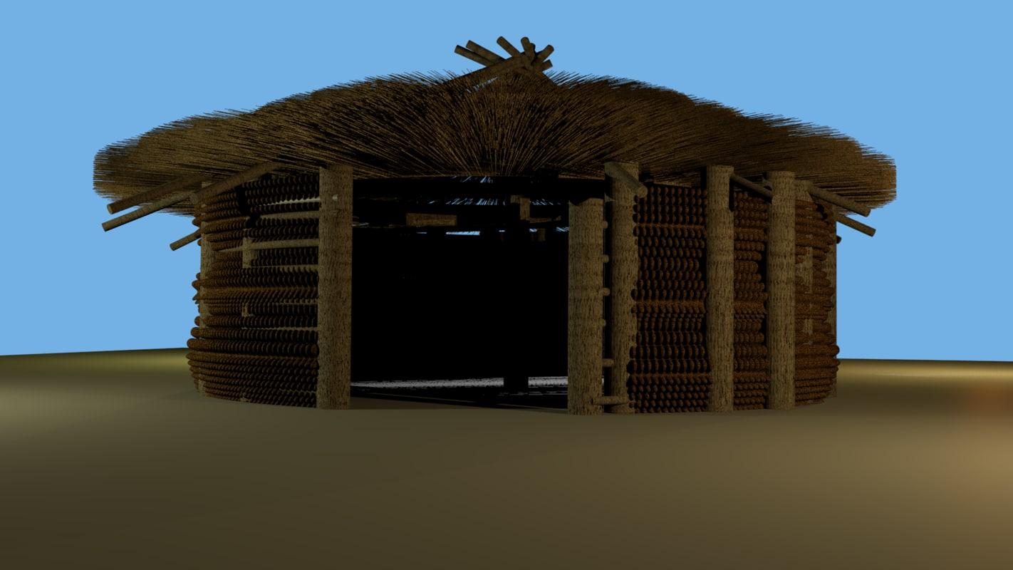 3D africa hut model