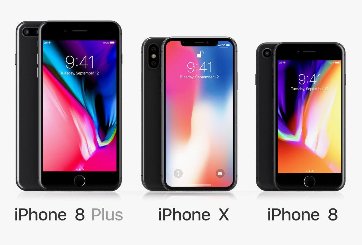 3D apple iphone set 8