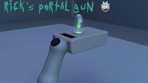 3D rick morty portal gun