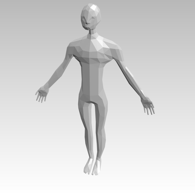 3D model low-poly man