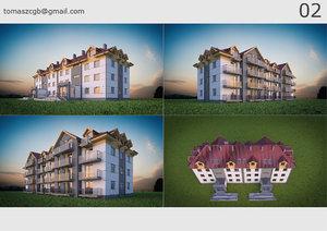 3D building 02 house model