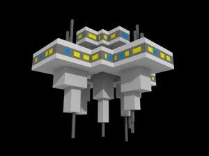 voxel spacestation space sci-fi 3D model