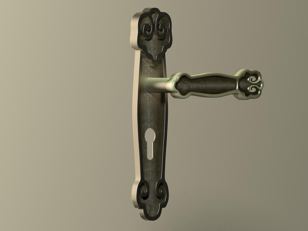 3D handle door antique model