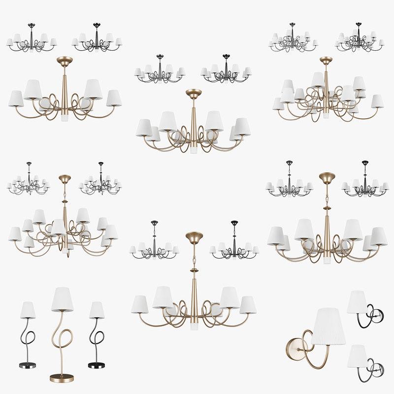 chandelier vortico lightstar lamp 3D