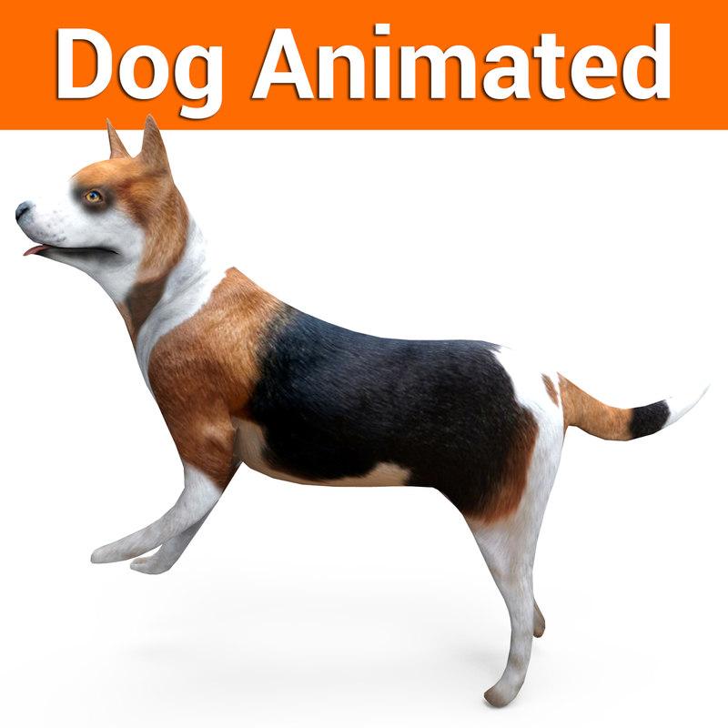3D model german shepherd dog rigged