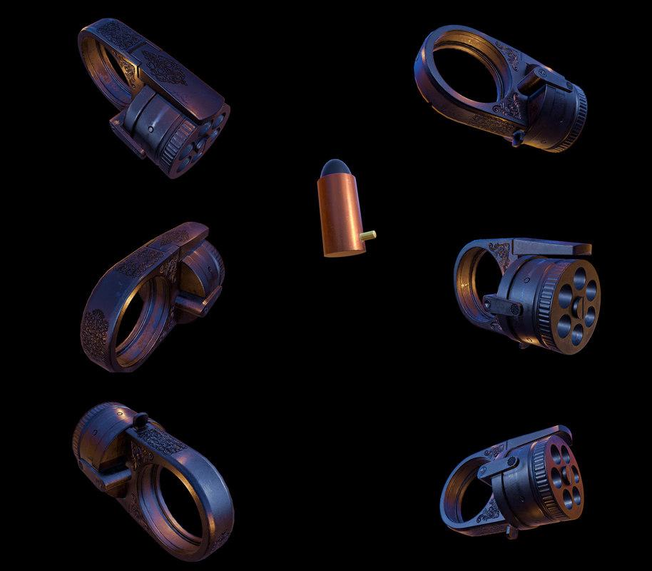 3D victorian pistol ring model
