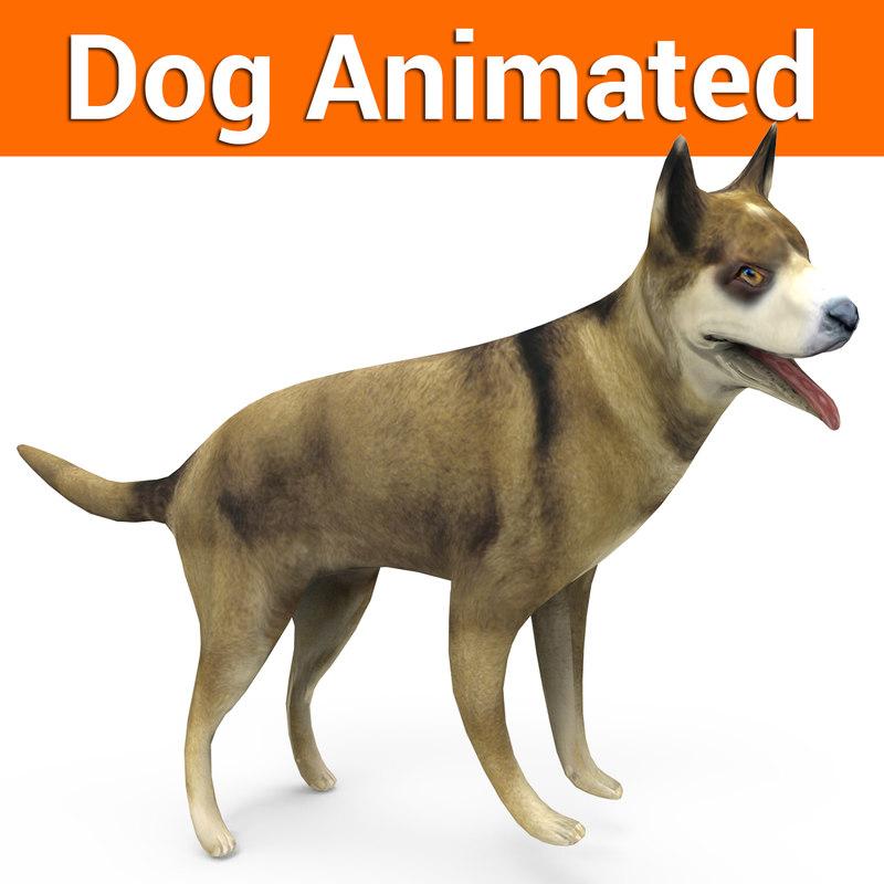 german shepherd dog rigged 3D model