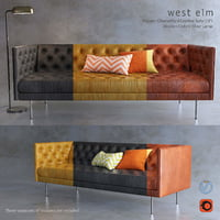 West Elm Chesterfield sofa and Oxford flor lamp 3D model