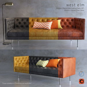 3D model west elm chesterfield sofa