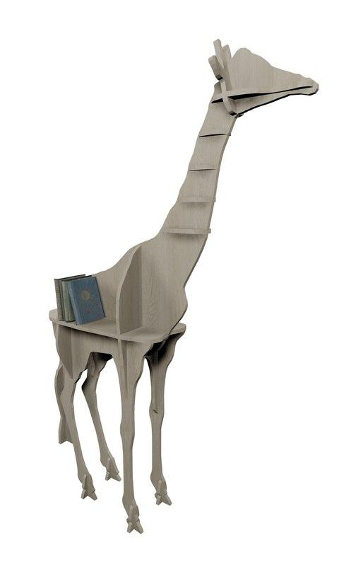 3D interior shelf giraffe model