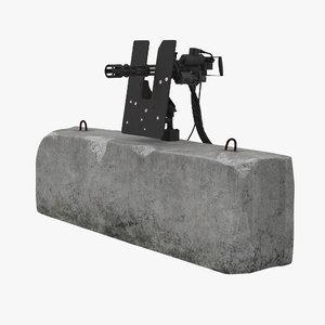 minigun m134 dirt mounted 3D model