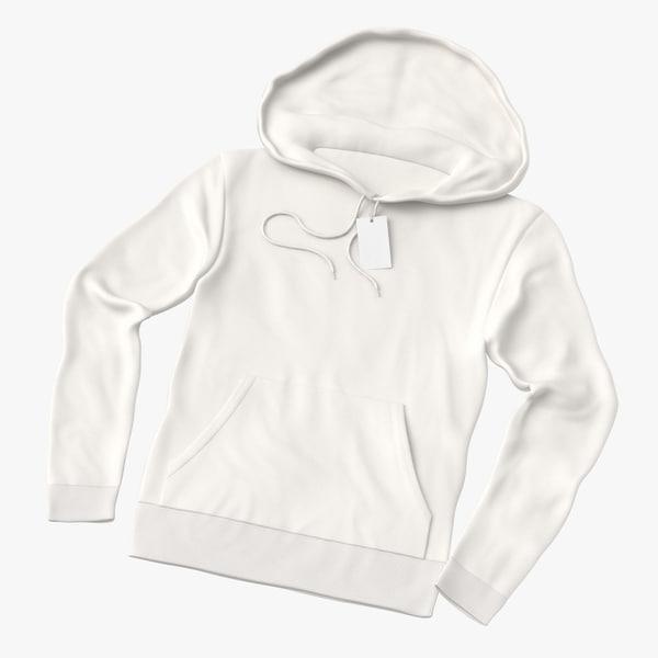 3D male standard hoodie laid model