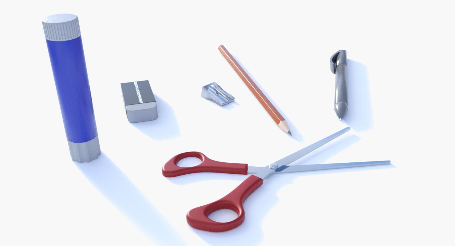 writing materials 3D model