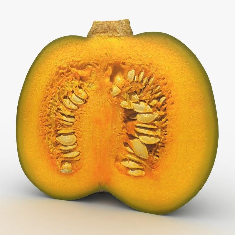 3D cut green pumpkin 2 model