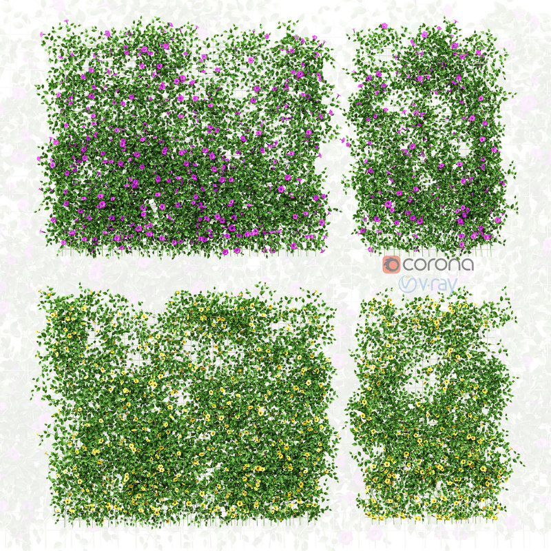 3D set walls flowers grid model