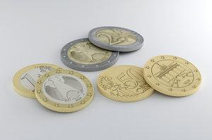 euro coin 3D