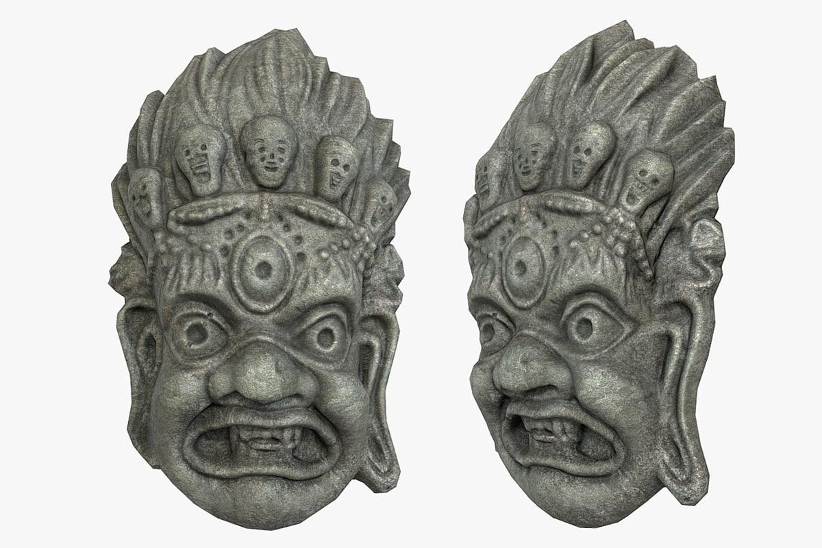 3D mayan tribal mask