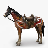War painted horse with saddle