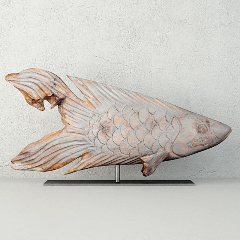 erwinville decorative wooden fish 3D model