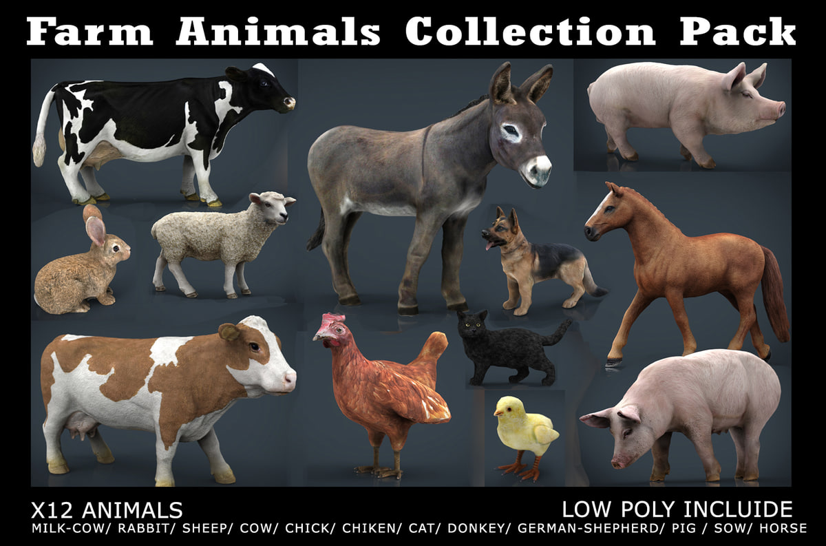 3D farm animals pack